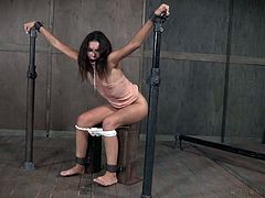 She is trapped by her horny master so he can have his fun with her. Eden is gagged, tied up and put in chains. When she is bent over, he can fuck her hard from behind and make her cum. The dungeon is full of pain and pleasure.