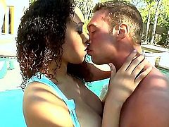 Curly haired buxom ebony chick Serena Ali gives outdoor blowjob from your point of view and rides dick reverse cowgirl by the pool. Watch hot black chick with big tits and shaved snatch get banged.