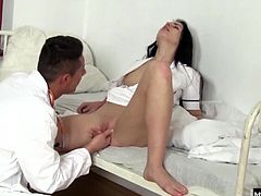 Dirty doctor determines that this slut get the high shes been craving, by boning her brains out After nearly asphyxiating her with his cock down her throat, Kittina gets all the cock she could ask for in her pussy fucked so hard she even pees down his legs