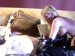 Nicole Sheridan is a sexy dominatrix. She gets in her leather lingerie and gets her slave to do her bidding. You just have to yes to everything she says.