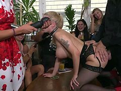 If we are talking about a public humiliation, then we can not ignore this crazy video. Blonde busty milf, Isabella Clark, licks her mistress's pussy in the middle of a crowded bar, while others encourage her with cheers... Join and have fun!