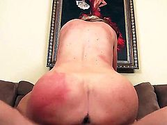 This busty blonde American milf is a perfect pick for staring in a big tits porno. She craves for young cock and she gets to ride that pulsating penis hard
