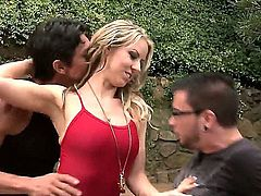 Carolyn Reese takes a drive with two guy. They stop in front of one of their houses and make a threesome. They have their way with her. She likes it.