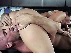 Johnny Sins sticks his hard dick in Jayden Jaymes's wet pussy eagerly. This big titted sexy brunette is his hot boss. He does his best to bring her to the edge of nirvana.
