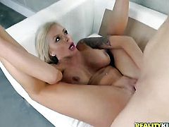 Bruce Venture explores the depth of sinfully sexy Nina Elles throat with his love torpedo, HotShame.