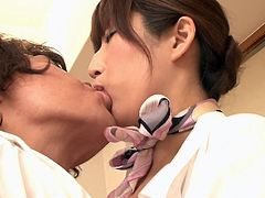 Working for Japan airlines is very hard work, so this sexy airline hostess needs to relax on occasion. After a hot make out session with her man, she takes that big cock in between her cleavage and deep down into her throat.