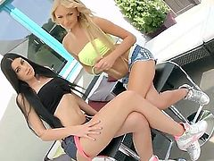 Brunette April Blue and blonde Ivana Sugar get their nice butts drilled by rock hard dick right in front of the camera in hot threesome. She swallow jizz after great anal sex.