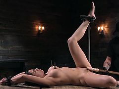 Pain brings her pleasure. The master knows exactly how to make her hurt and how to get her to cum. The big dildo gets rammed in her hole, while clamps press hard on her perky nipples. The vibrator on her clit brings her to orgasm.