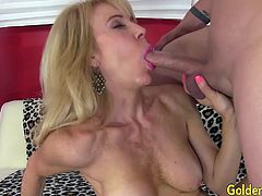Horny mature woman teases a guy She gives him a nice blowjob Then he gets her pussy fucked deep and good in many positions He spills cum over her tits and chin