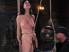 Fantastic brunette with an amazing body enjoys inescapable rope bondage and brutal orgasms, as she is out of her mind with how great she feels. Watch breathtaking bdsm session with hot milf Cherry Torn!