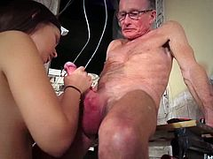 When she comes across Clayton, Tina undoes her dress to show off her nice big boobs and hot slender body. This is the first pussy the old man has seen in almost 20 years and he gets down to eat it out. When Tina is nice and wet, he shoves his old cock inside the coed and pumps away until he unleashes a big load of cum in her wide open mouth