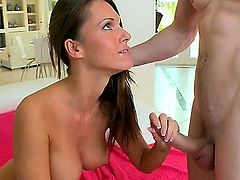 Before this skinny brunette babe gets to that smooth riding of his ding dong, she's going to have her mouth full with his white schlong. A nice cumshot is well deserved, I'd say