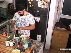 Mature and hairy Leandro is in the kitchen making coffee, when young Simon returns from classes. A welcome kiss quickly gets things heated up and soon daddy has the boys cock out and in his mouth. By the time both are naked, Leandro is bent over the kitchen counter taking the boys big uncut cock up his ass. Simon bareback fucks the mature Latino, until hes ready to release his seed. Daddy gets on his knees and patiently waits for his twink top to pump a warm cum load onto his bearded face. Th