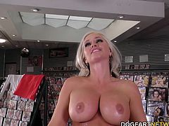 Busty blonde cougar Alena starts by using her soft, sensual mouth to warm the crew up. Then, it's on to her sopping wet cunt. And then, for the first time in her life, Alena is going to allow the gang bang to move to her tight asshole...