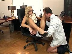 Blonde secretary, Aleska Diamond is called into the bosses office for a dictation
