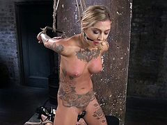 Slutty busty babe Kleio Valentien gets her tits and pussy punished