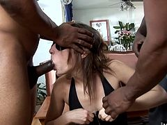 Amber Rayne finds out that all three of the men that are about to gang bang her are black, shes so excited to be stretched out by every inch of these massive dark intruders that have no mercy and stuff her from both ends at the same time.