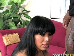 Big titted Sienna West wants to taste Rico's big black cock. She get's on her knees tries to deepthroat his huge black dick. She gags and chokes while she gives blowjob to Rico...