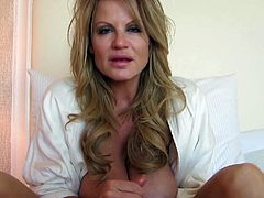 Kelly Madison wants to make a lover's dick stiff with her fingers