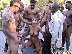 Busty BBC slut Chase's mouth meets the dozen eager black men. She gets skull fucked repeatedly by big black cock until they feel the need to nut. Brooklyn is literally covered in cum.