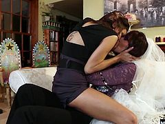 Things took a seriously sexy turn and the girls end up licking each others pussies and then fingering each other to hot and heavy orgasms, along with foot sniffing and licking, instead of focusing on upcoming nuptials.
