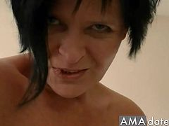 Dark-haired milf with a slightly thick body gets fucked missionary style by her husband in the kitchen.