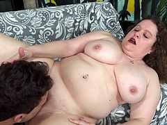 Sexy BBW gives a nice hand job She gets her tits sucked and pussy licked She sucks the dick too Then gets her pussy fucked deep in various positions He spills cum over her chin and tits