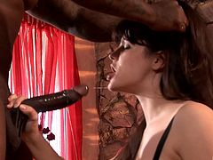 Bobbi Starr fucked up her anal hole before sucking a black rod