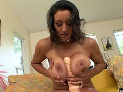 See her tease her pussy with a pool cue, pulling her panties to the side to reveal her wet hole. Once her natural lube is flowing, Persia pulls out a massive dildo that she works deep into her hairy pussy, as she looks into the camera and moans.