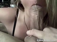 A blonde mature woman deep sucks her husband's thick meat in her underwear and gets filmed doing so.