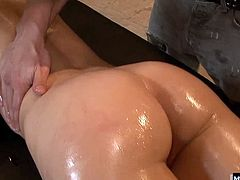 She told us she loves the way her body feels when she is covered in suntan lotion and we decided to see if she felt the same way about cumshots. Sure enough, she said she felt really sexy with a wad of jizz spewed right between her ass cheeks