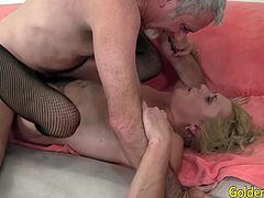 She gets her ass licked too She gives a nice blowjob Then the guy fucks her good and deep He shoots cum over her face and mouth