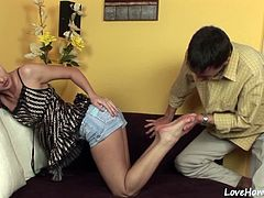 Hot chick loves to play with her clit while he slams his hard cock inside.