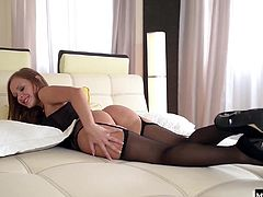 She takes her time getting ready for their date, so when he comes in to check on her, shes still strapping her stockings to her garter belt. He gets so horny, he wants her head to toe, and so he nibbles on her toes before plunging deep and hard into her wet pussy.