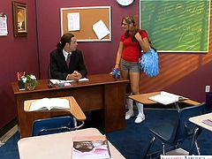 Attractive college chick Carmen McCarthy gets intimate with her teacher