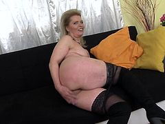Mirka is so horny that she had to play with herself. She pulls down her panties and takes off her bra, so you can see her sexy mature body. Her fingers slide towards her pussy and she rubs her clit until she has an orgasm.