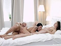 FirstBGG.com - Riana G & Dulce - Two chicks work hard over one dick