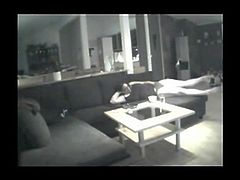 Woman Fingers Herself to Orgasm on Couch - Hidden Camera
