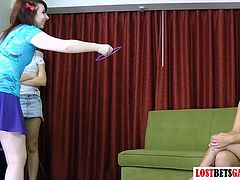 4 Girls Play a Strip Game of Ring around the Face Dildo Strap on