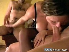 Watch this sexy and busty amateur chick who sucks two massive dicks of her lovers on cam and giving them a nice handjob before she gets fucked hard in doggy style.