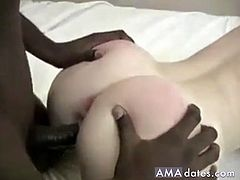 Horny hubby lets a black man fuck his beautiful and sexy blonde wife in their bed and films the cuckold action.