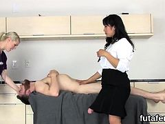 Girls pound dudes ass hole with big strap-ons and blast crea