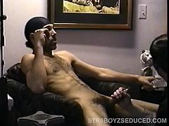 Straight boy Enrique pops in and, with his pants half down, talks on the phone while picking out a porn video. When he strips out of his clothes you can see his trim, well-defined body, as he strokes up his huge cock. Vinnie goes down on it and sucks deep, as Enrique maximizes the porno with the remote control. As Vinnie plays with his balls and ass, Enrique stands and starts to fuck his face, grabbing his head and keeping a fast and furious pace. Soon he blows a huge cum gusher on Vinnies face