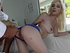 Tiny blond chick Piper Perri goes wild on a hard big dong