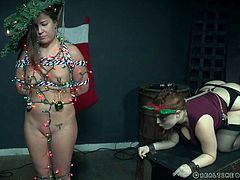 This time Maddy O'Reilly looks like a Christmas tree, but despite such a cheerful look, these ornaments on her naked body bring her incredible pain. Watch breathtaking bdsm and punishment! Have fun!