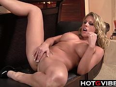 Charisma Cappelli masturbates with her cockring vibrator and dildo This busty bigtit blonde is so horny that she cannt stop fingering her shaved pussy