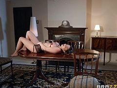 Jimena Lago is ready for some extra efforts to get Danny's extremely huge dick in her mouth and pussy, and this is the reason why she puts this sexy strip show on. Relax and enjoy impetuous sex action!