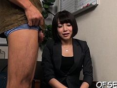 Sexy adorable babe likes office sex
