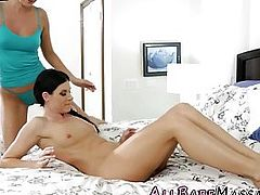 Oiled and rubbed lesbian milf scissors gorgeous masseuse