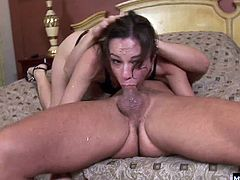 Amber Rayne has been really naughty and deep throating every cock she can get her lips wrapped around. She shows us just how gaggy and slobbering she can get as she goes for broke and goes to town taking this huge salami deep down her throat.